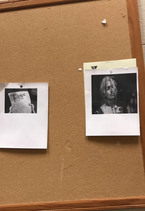 picture of school bulletin board with Lil Pumps picture hung on it.
