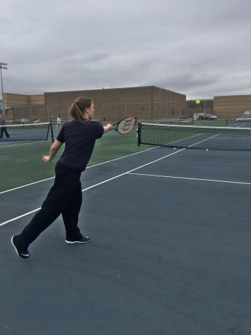 A girl is standing on the court and just hit a tennis ball to the other side of the court.
