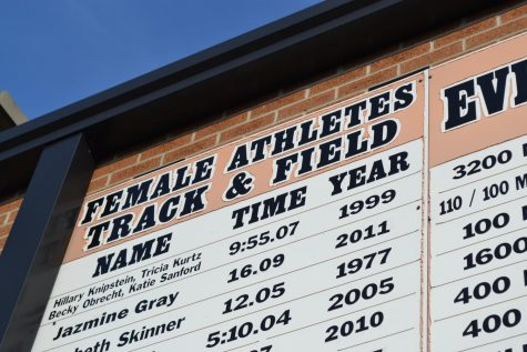 A big scoreboard lists all of the records set by past runners.