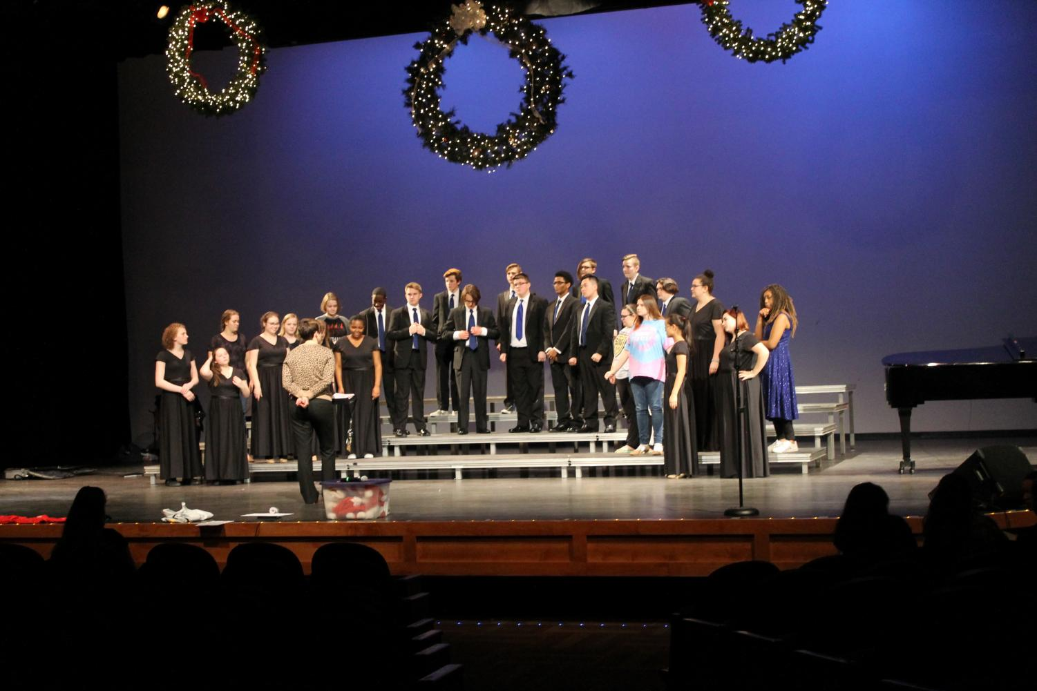 The choir performs at the concert